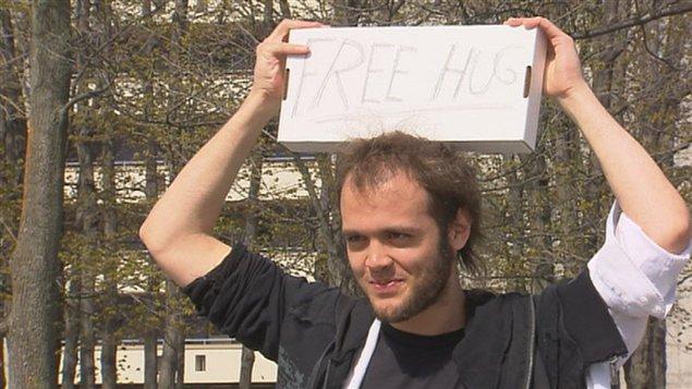 David Dulac lors d'une manifestation liée au conflit étudiant au printemps 2012.