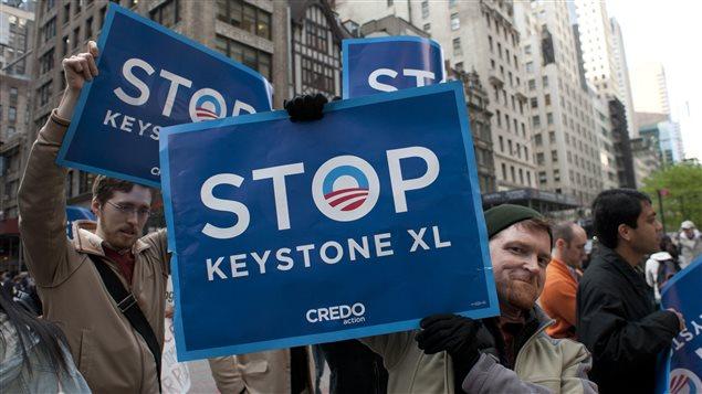 Manifestation contre le projet Keystone XL, le 13 mai 2013, à New York