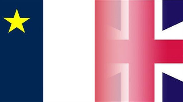Drapeaux croisés: l'Acadien et le Britannique des Loyalistes