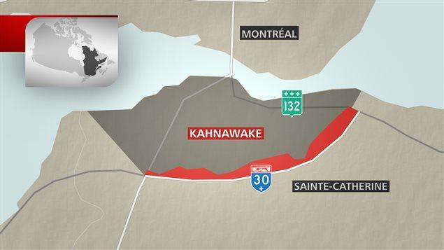 Carte géographique situant Kahnawake