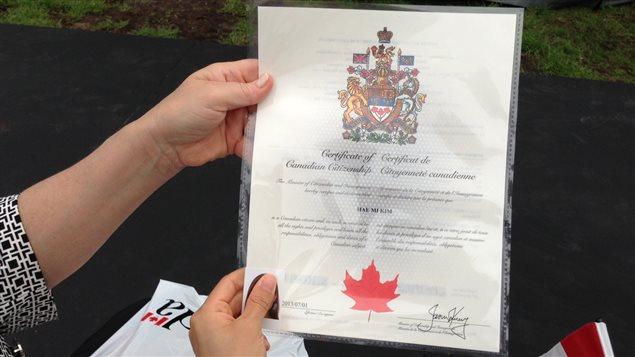 Un certificat de citoyenneté canadienne