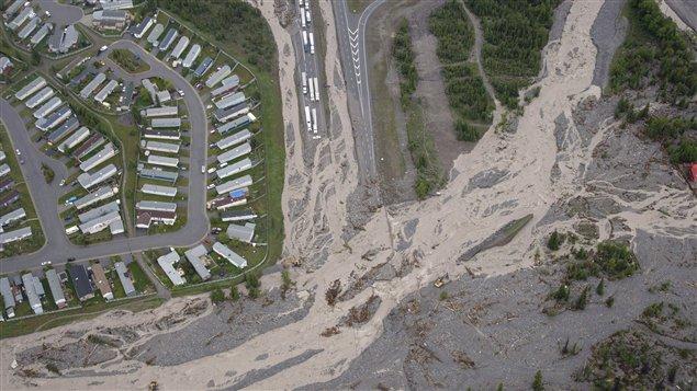 An aerial shot of the devastation in Alberta during June floods.