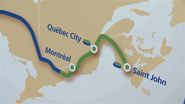 Le tracé du projet de TransCanada dans l'est du pays.