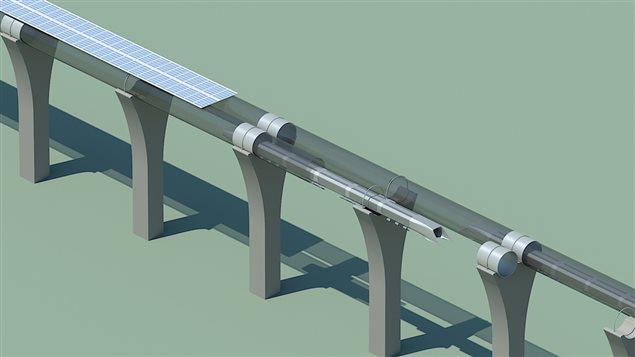 Les capsules d'aluminium voyageraient dans des tubes d'acier surélevés.