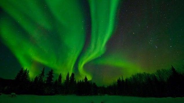 Aurores boréales au parc Wood Buffalo en Alberta, le plus grand parc national du Canada.