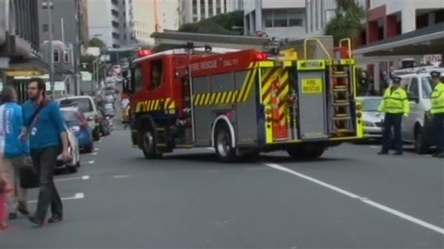 Los services de emergencia en las calles de Wellington, en Nueva Zelanda.