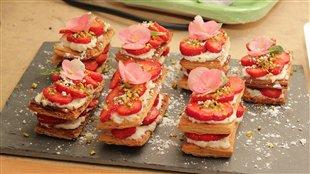 Millefeuille fraises, mascarpone et pistaches