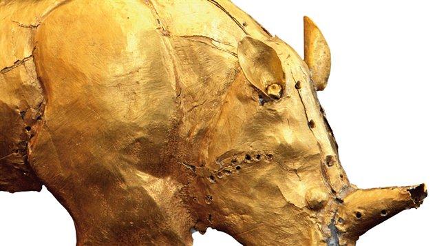 <em>Le rhinocéros d'or. Histoires du Moyen Âge africain</em>, de François-Xavier Fauvelle-Aymar. Détail de couverture.