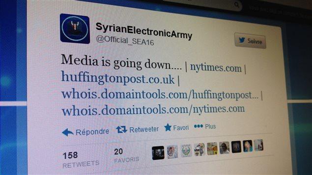 Message de l'Armée électronique syrienne sur Twitter, le 27 août 2013