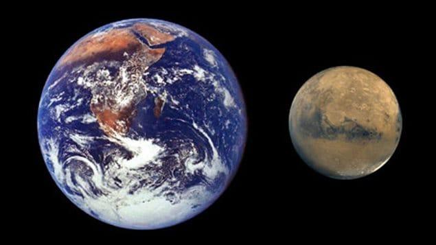 Comparaison de la taille la Terre et de celle de Mars