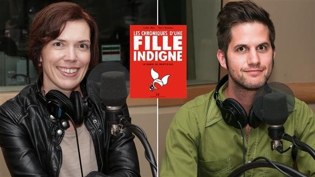 Les auteurs Caroline Allard et Francis Desharnais avec leur livre <i>Les chroniques d'une fille indigne</i>.