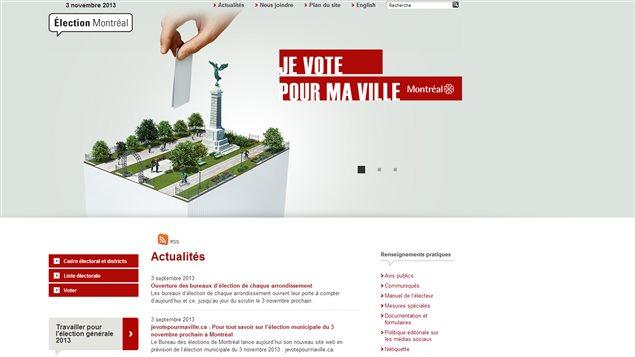 Le site Internet Jevotepourmaville.ca