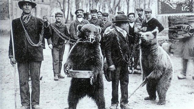 Carte postale des Pyrénées montrant des dompteurs d'ours au début du 20e siècle