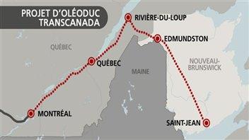 Petite carte claire produite par Radio-Canada: un tracé rouge passe par Montréal, Québec, Rivière-du-Loup, Edmundston et Saint-Jean