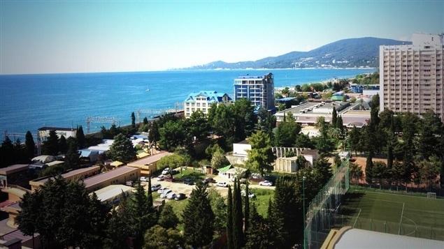 Ma vue de la mer Noire de ma chambre d'hôtel à Sotchi