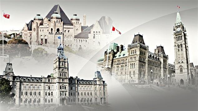 Les parlements de l'Ontario, du Québec et d'Ottawa.