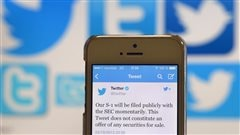Message de Twitter qui arrive en bourse