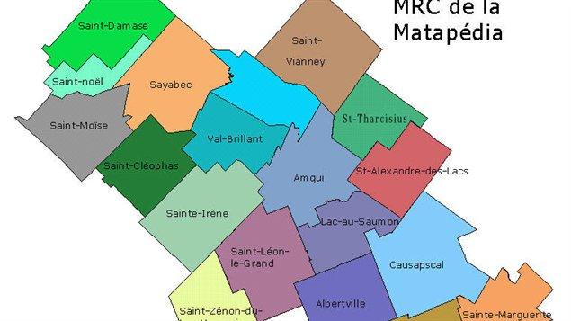 Carte de la MRC de la Matapédia