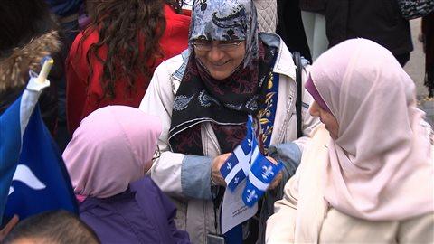 Des manifestantes contre la charte des valeurs québécoises