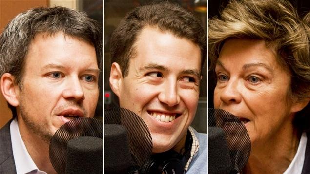 Louis Aucoin, associé principal chez Octane stratégies, Jonathan Brun, cofondateur de Montréal ouvert, et l'ex-ministre et ex-députée Louise Beaudoin.