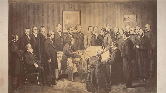 Abraham Lincoln sur son lit de mort