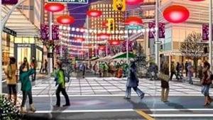 L'intersection des rues Thurlow et Alberni dans la ville de Vancouver telle que imaginée dans un récent plan d'urbanisme.