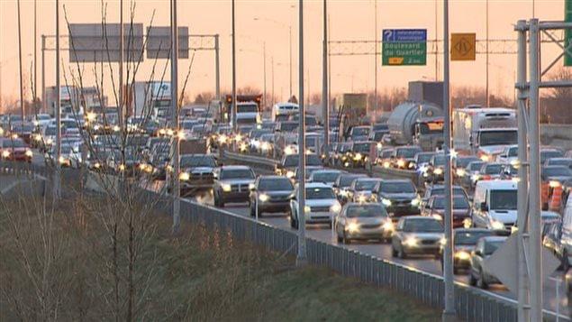 La congestion routière à l'approche du pont Champlain