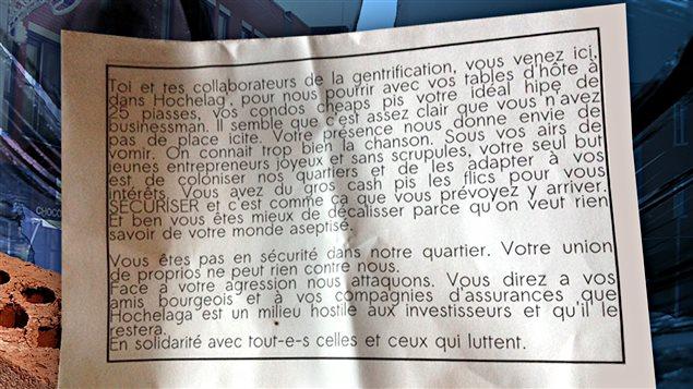 Message laissé par des vandales dans Hochelaga-Maisonneuve
