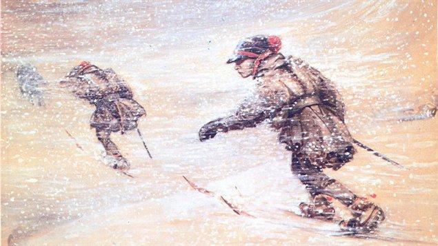 Soldat suédois avec des skis au pied. Oeuvre de John Bauer réalisée en  1904-1905.