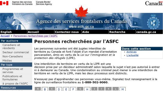 Página de la Agencia de Servicios Fronterizos de Canadá, en su sección los más buscados.