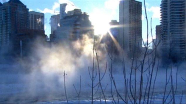 La ville de Calgary en Alberta est elle aussi sous le froid.