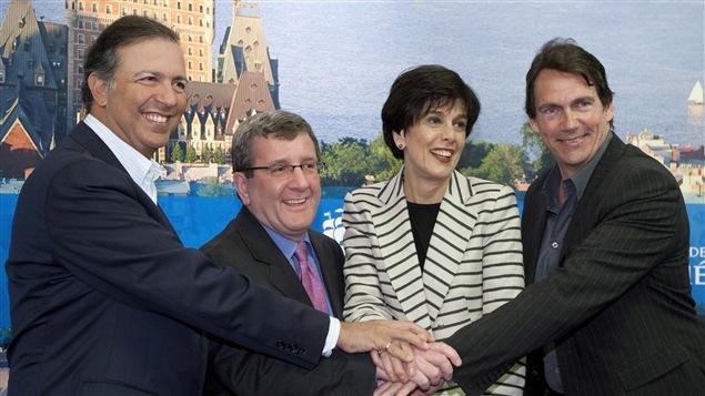 Sam Hamad, Régis Labeaume, Michelle Courchesne et Pierre Karl Péladeau en 2012