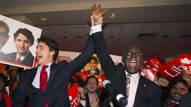 Justin Trudeau (à gauche) et Emmanuel Dubourg