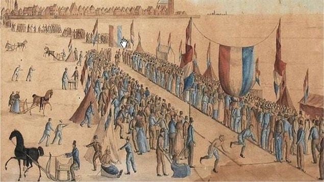 Scène de course de patin au Pays-Bas. Oeuvre anonyme, 1828.