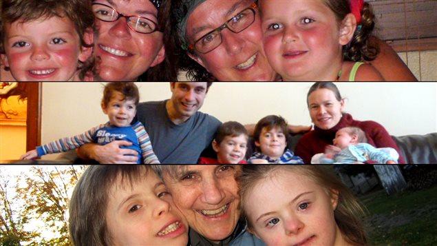 Nathalie Courville et Marie-Claude Cossette et leurs deux enfants, Mathieu Perreault avec ses 4 enfants et sa femme, et Louise Brissette avec ses deux plus jeunes enfants