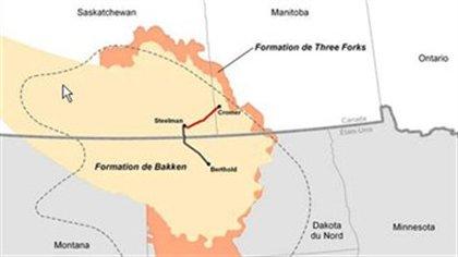 Les formations pétrolières de Bakken et Three Forks. Forks. En rouge, le tracé du projet de pipeline Bakken.