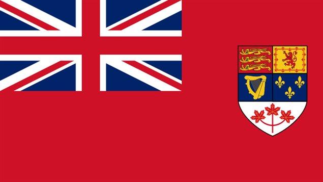 نسخة الراية الحمراء (Red Ensign) التي اعتُمدت علماً لكندا منذ عام 1957 وحتى استبدالها بعلم كندا الحالي عام 1965