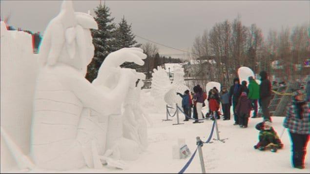 Quelques personnages de neige lors de la 30e édition de Saguenay en Neige