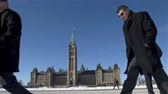 Des gens marchent devant le Parlement canadien, à Ottawa.
