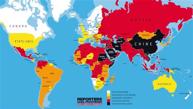 La liberté de presse dans le monde, telle qu'illustrée  par Reporters sans frontières.