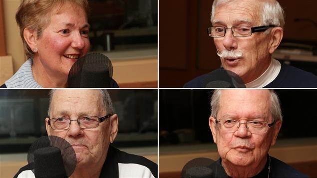 Dans le sens horaire : France Dansereau, Ulysse Robichaud, Georges Sabourin et Jean-Guy Vidal du club des marcheurs du mail Champlain.