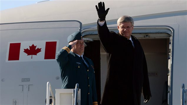Stephen Harper à son départ du Canada.