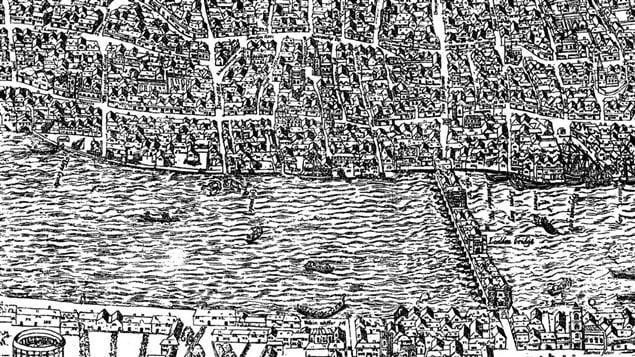 Dtail De La Carte DAgas Montrant Londres Vers 1561