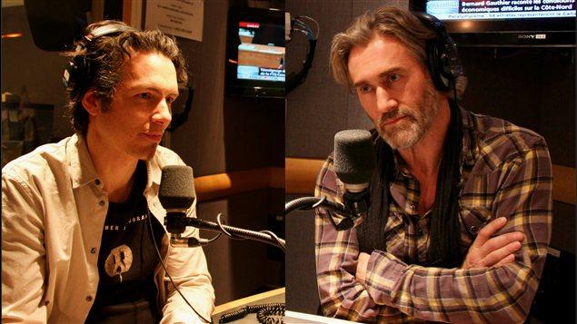 Nicolas Boisclair, co-réalisateur du film «Chercher le courant» et Roy Dupuis de la Fondation Rivières.