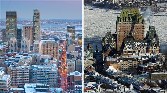 Centre-ville de Montréal et vue sur le Château Frontenac de Québec