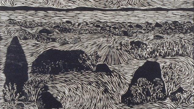 C'est sur les bords du Saint-Laurent, une estampe de René Derouin (1967 - bois gravé ; 52 x 67 cm)