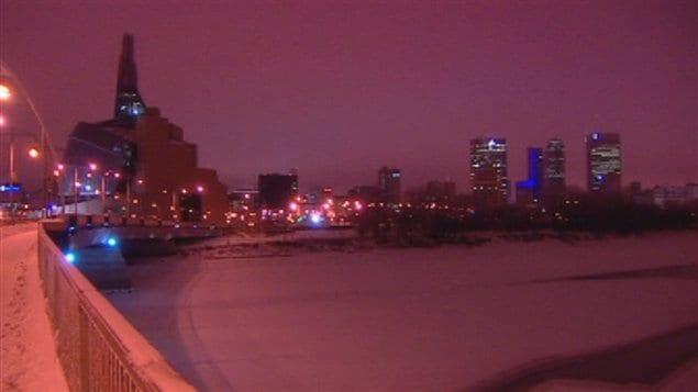 Centre-ville de Winnipeg, une nuit d'hiver