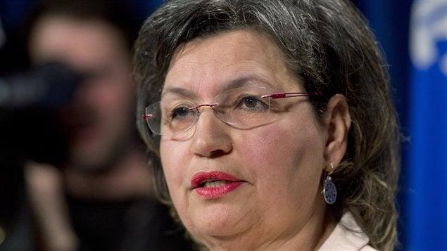 La député Fatima Houda-Pépin lors de l'annonce de sa candidature dans La Pinière.