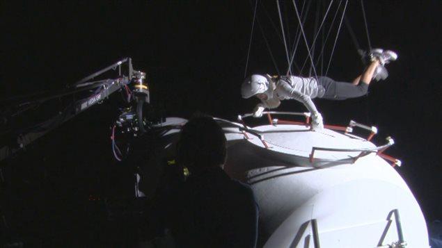 Sandra Bullock lors du tournage du film «Gravity»