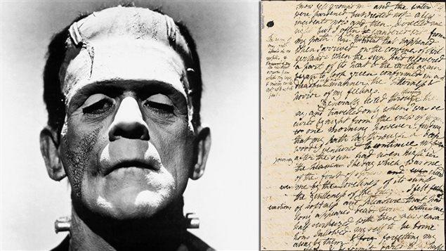 L'acteur Boris Karloff dans le rôle de Franksenstein (1931) et le manuscrit original du roman <em>Frankenstein ou le Prométhée moderne</em>, de Mary Wollstonecraft Shelley (1818)